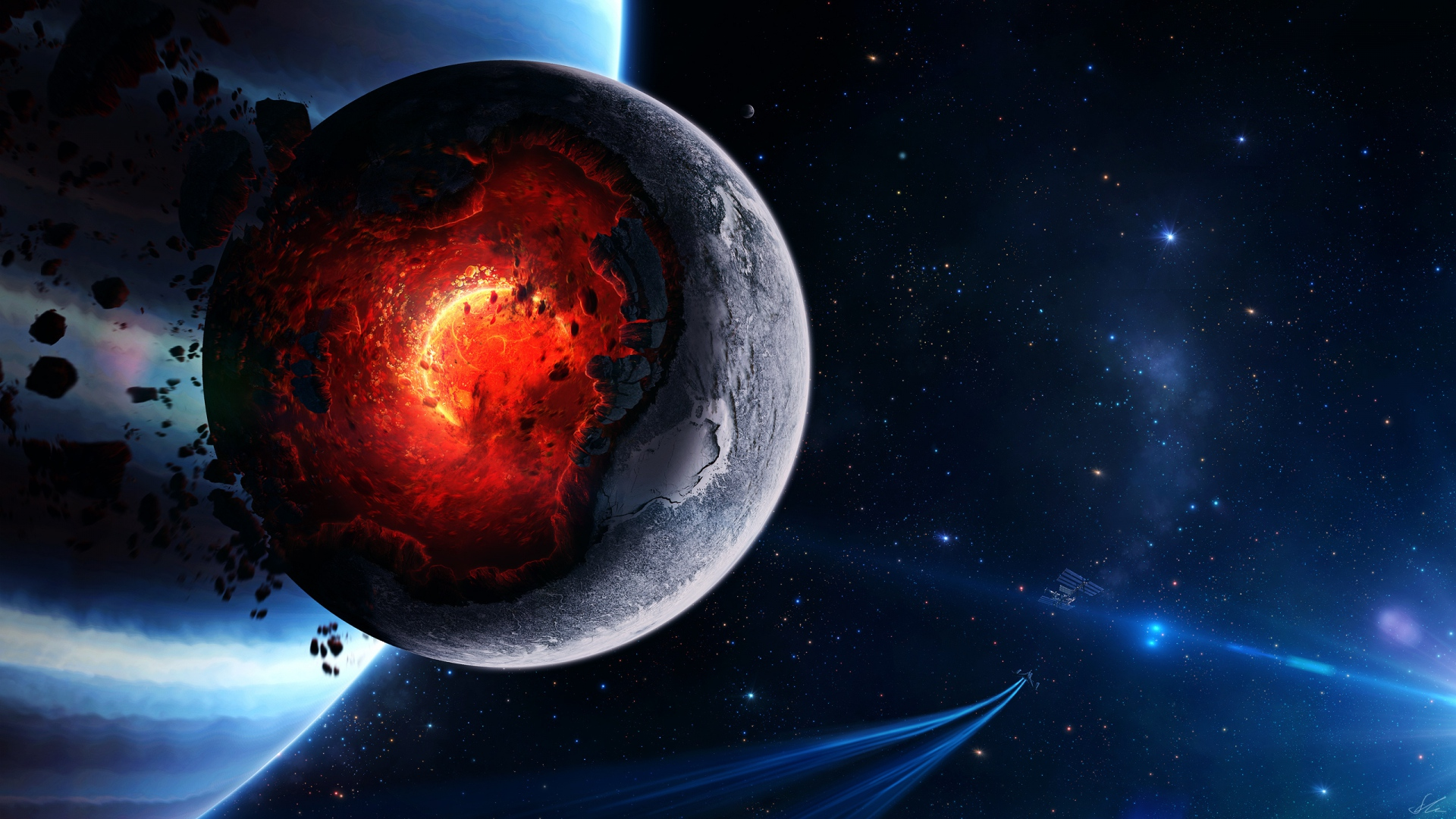Collapse Of Planet In Space Wallx Wallpaper Script